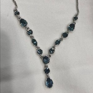 New Givenchy blue crystals Y necklace